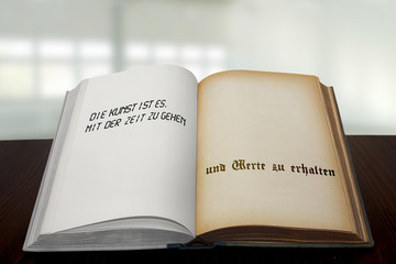 Buch alt und neu bedruckt