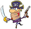 Pirate Brandishing Sword and Gun Balances on Peg Leg