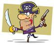 Pirate Brandishing Sword Balances on Peg Leg,background