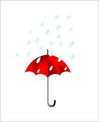 Vector illustration of umbrella .and rain