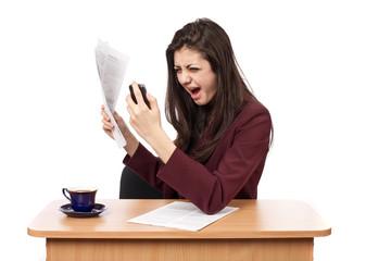 Businesswoman yelling on phone