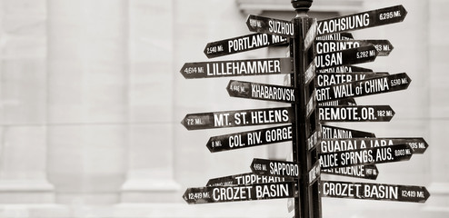 Famous signpost to landmarks in Portland, Oregon