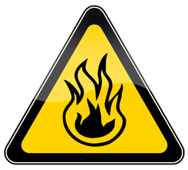 Combustible material warning sign