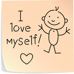 "Post-it with words ""I love myself"""