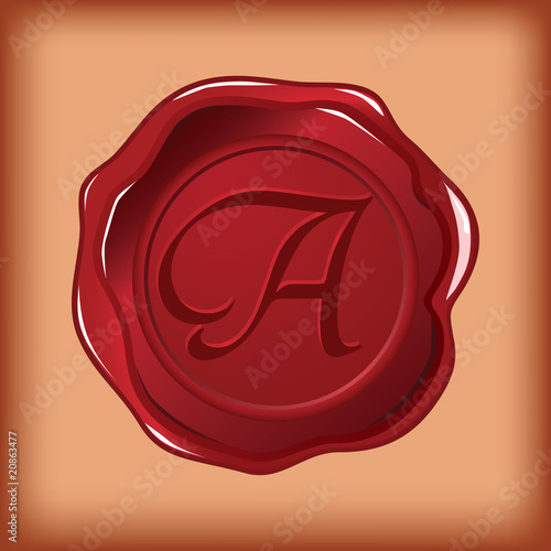 wax sealed monogram A vector