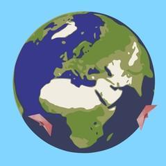 Papierschiffchen auf Erde