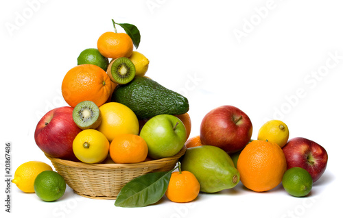 Healthy fruit isolated on white