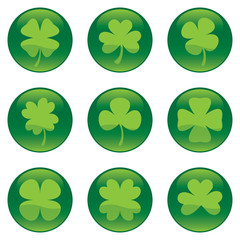 Shamrocks glossy icon set - vector