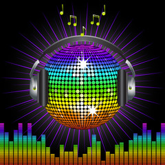 rainbow disco ball and headphones