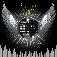 World globe disco ball with wings, headphone and jack