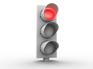 white traffic light with a red light