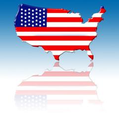 Mapa de Estados Unidos con su bandera para web 2.0