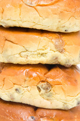 raisin bread in closeup