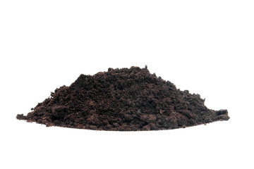 pile of black garden soil over white background