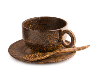 empty brown wooden cup of teak tree