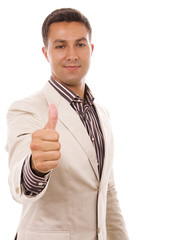Young business man thumb-up isolated on whithe