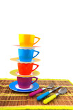 colorful crockery for the camping poster