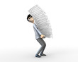 businessman with a pile of paper