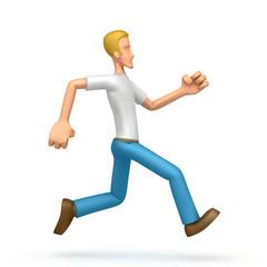 casual man  runs