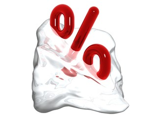 red percent sign in the ice melting