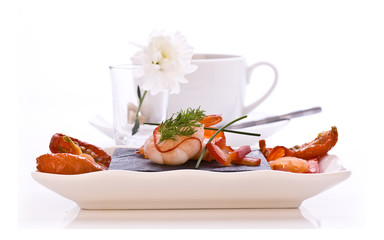 Dish of Smoked Salmon and Prawns
