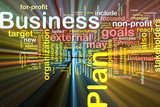 Business plan word cloud glowing