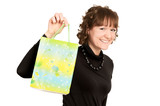 smiling girl buyer with present bag poster