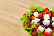 Fresh Salad With tomatoes Peppers Olives and Feta Cheese