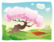 Countryside. Vector and cartoon landscape.