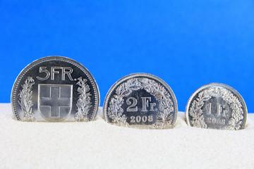 schweizermünzen im sand