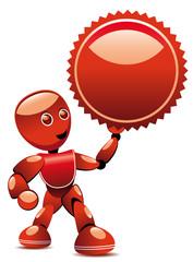 Robot brandissant un label