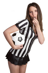 Soccer Referee Blowing Whistle
