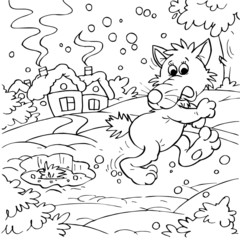 Wolf on a frozen pond (fairy-tale character)