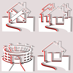 set of 4 building vectos in 3D isolated on grey