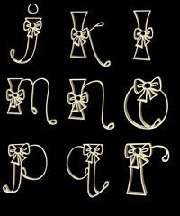 vector letter j - r in gold lettering
