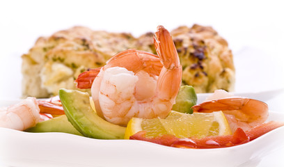 Prawn salad  with avocado lemon pepper herbs and fresh garlic br