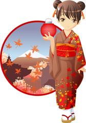 Autumn kimono girl