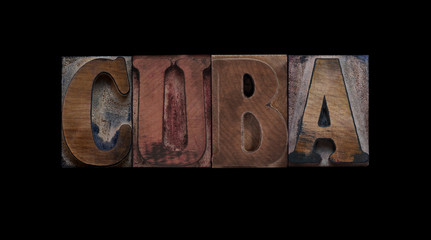 the word Cuba in old letterpress wood type