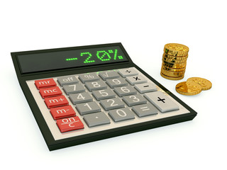 calculator and a stack of coins