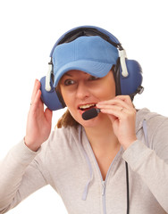 Pilot with headset
