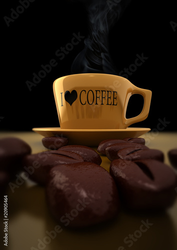 3d render of coffee cup with coffee beans