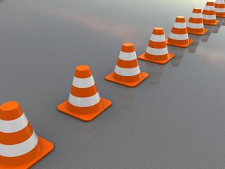traffic cones line