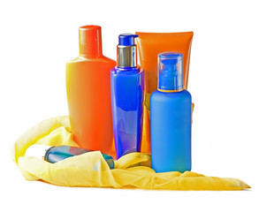 sun blocking cream, lotion and toner for summer care