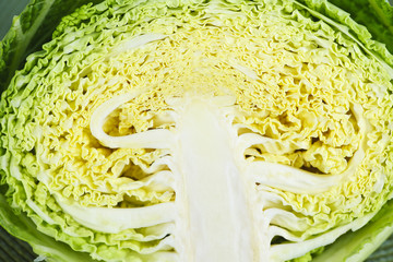 Closeup of half sliced cabbage head