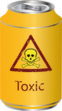 Yellow bank with a toxic waste poster