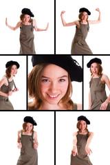 jeune fille en robe avec un beret et differentes expressions