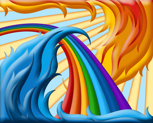 illustration of  rainbow with waves in the sun