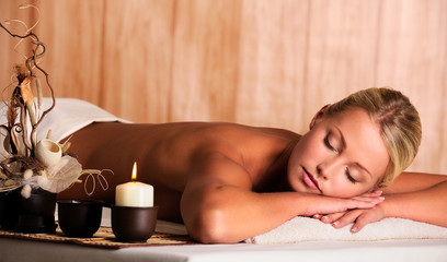 woman relax in spa salon