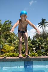 boy preparing to swim