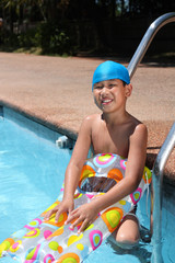 boy with swimming gear